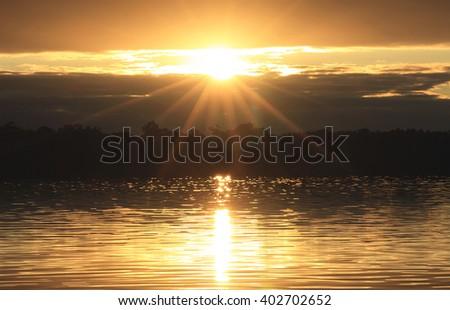 Tooradin sunset, Western Port, Victoria, Australia - stock photo