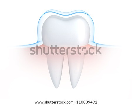 Tooth and blue shell  (done in 3d) - stock photo