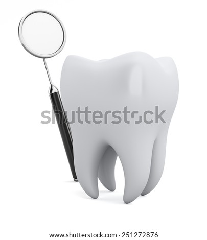 Tooth and dental mirror isolated on white background. 3d render - stock photo