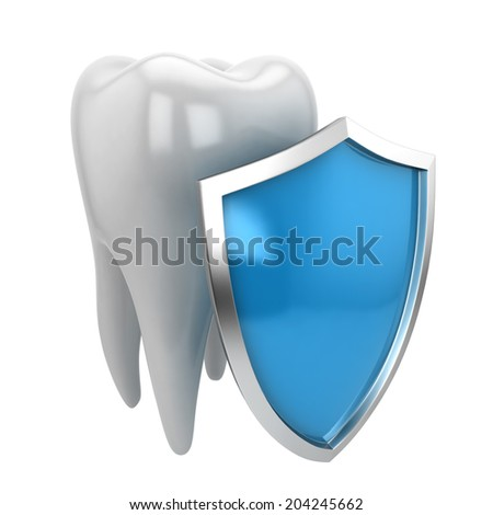 Tooth and shield. 3d illustration isolated on white background  - stock photo