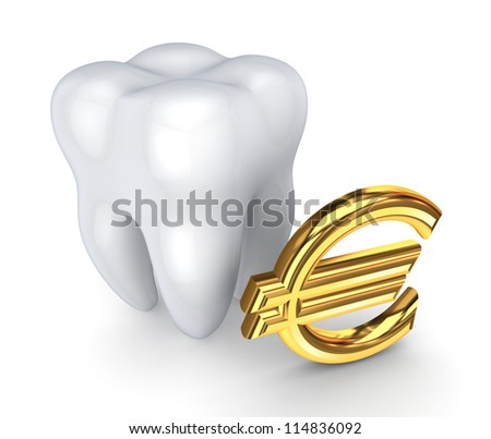 Tooth and symbol of Euro.Isolated on white background.3d rendered. - stock photo