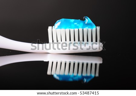 tooth brush with paste - stock photo