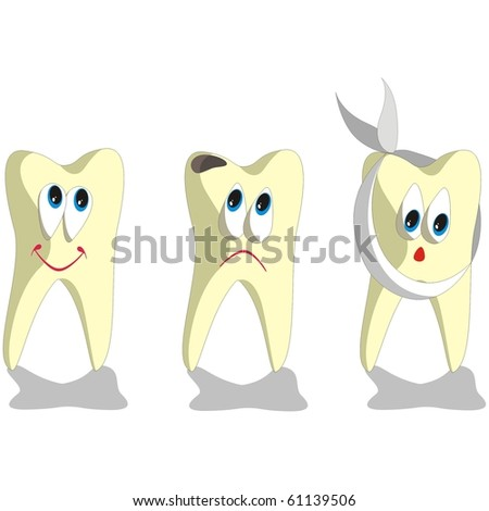 Tooth cartoon set 001 - stock photo