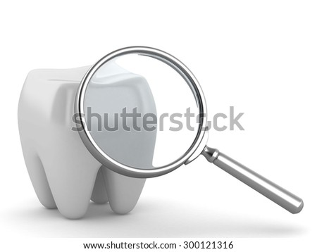 Tooth 3d magnifier isolated on white background - stock photo