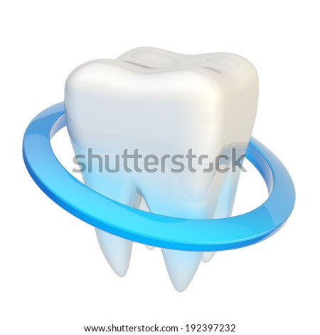 Tooth encircled with a blue ring circle as a protection, isolated over the white background - stock photo