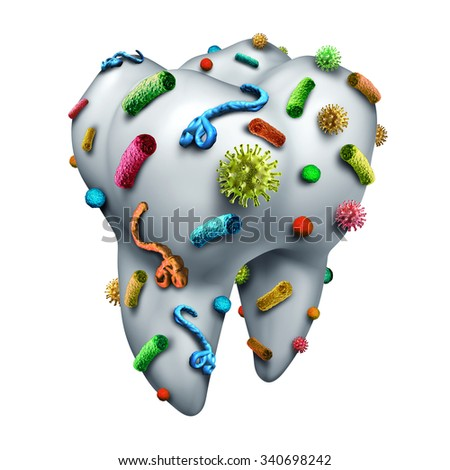 Tooth germs as a dental hygiene concept with bacteria and virus cells on human molar enamel as a dentistry and dentist oral care symbol and risk of infection in the mouth. - stock photo