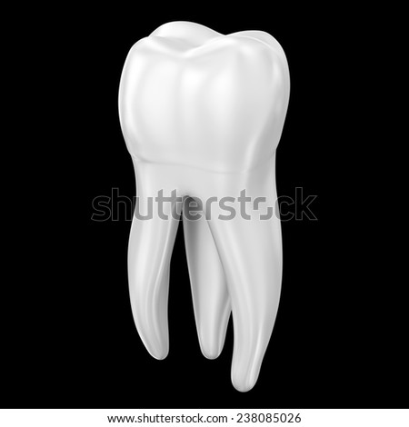 Tooth in white over a black background. Part of a series. - stock photo