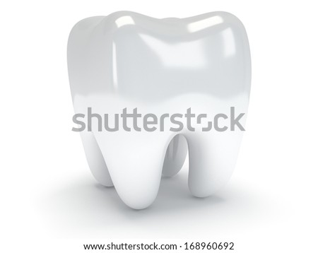 Tooth isolated on white background. 3D render. Dental, medicine, health concept. - stock photo