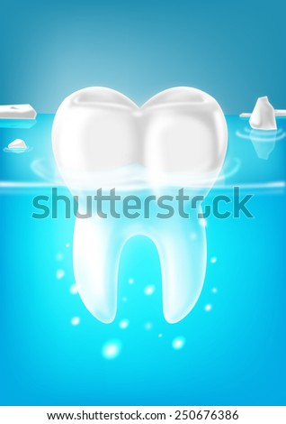 Tooth on a cool water with bubbles - stock photo