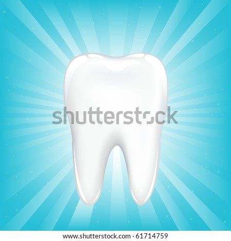 Tooth, On Blue Background With Beams And Stars - stock photo
