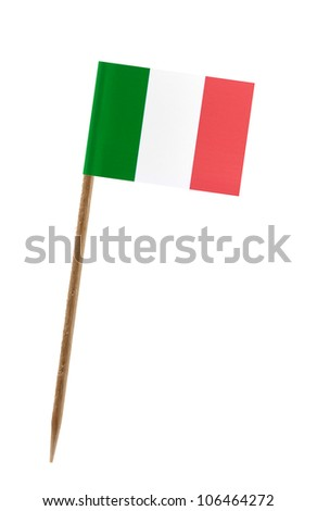 Tooth pick wit a small paper flag of Italy - stock photo