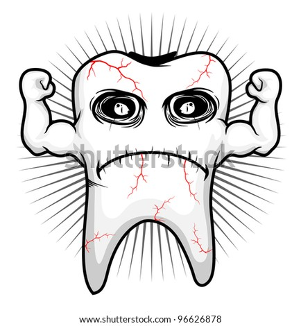 tooth sick strong character - Vector Version available - stock photo