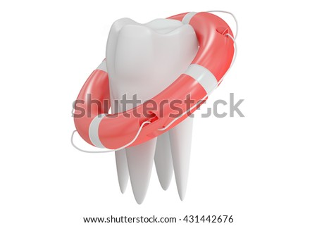 Tooth with lifebuoy, 3D rendering isolated on white background - stock photo