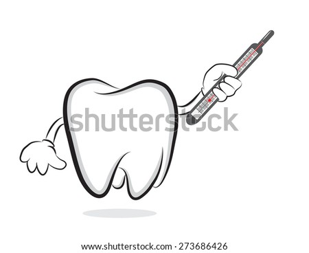 Tooth with mercury thermometer  - stock photo