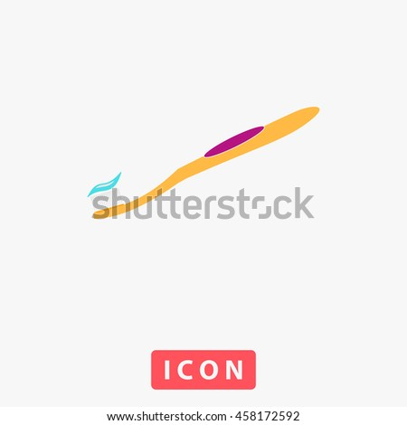 Toothbrush and Toothpaste. White circle button on black background - stock photo