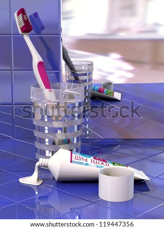 Toothbrush, glass, toothpaste and mirror on  blue tile - stock photo