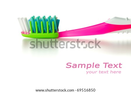 toothbrush, macro view with room for your text - stock photo