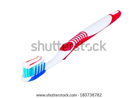 Toothbrush with toothpaste isolated on white background with clipping path