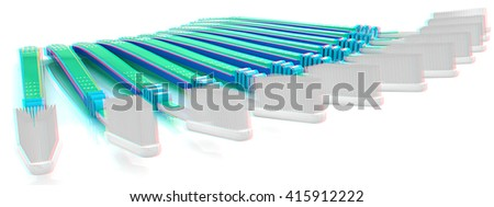 Toothbrushes on a white background . 3D illustration. Anaglyph. View with red/cyan glasses to see in 3D.