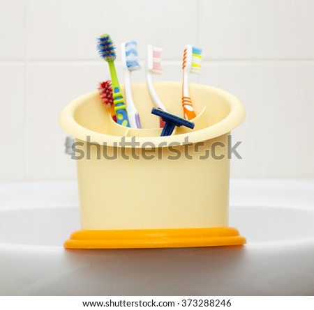 toothbrushes, toothpaste, soap  - stock photo