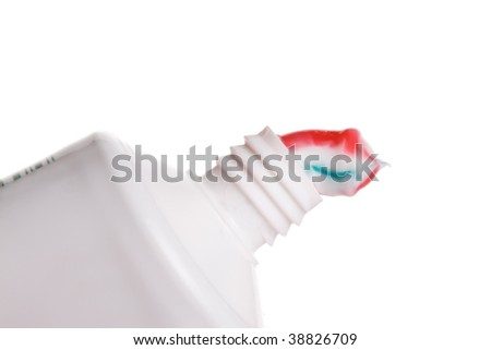 Toothpaste squeezed out of the tube isolated on white - stock photo