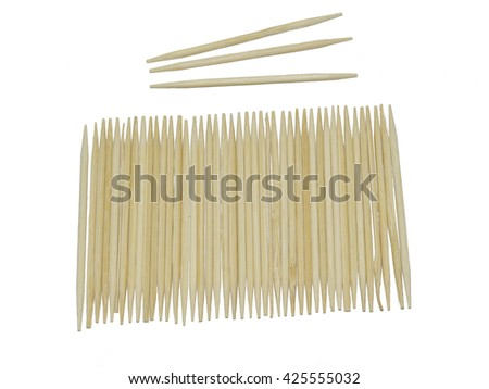 Toothpick.a short pointed piece of wood  used for removing bits of food lodged between the teeth