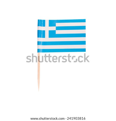 Toothpick Flag Greece. Paper Greek flag . Isolated on white background - stock photo
