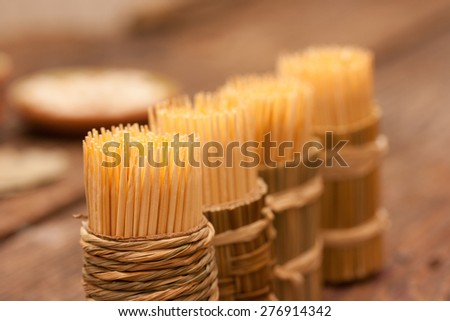 Toothpicks closeup background - stock photo