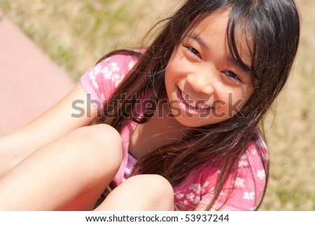 Top Angle Portrait of Little Girl - stock photo