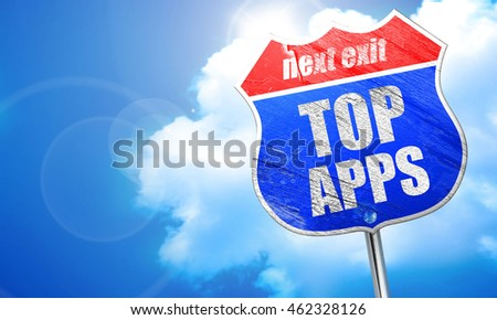 top apps, 3D rendering, blue street sign