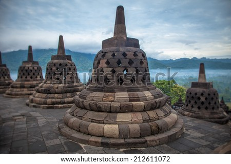 Top Borobudur Temple, Yogyakarta, Java, Indonesia. - stock photo