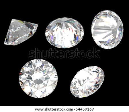 Top, bottom and different side views of diamond. Over black, large resolution. - stock photo