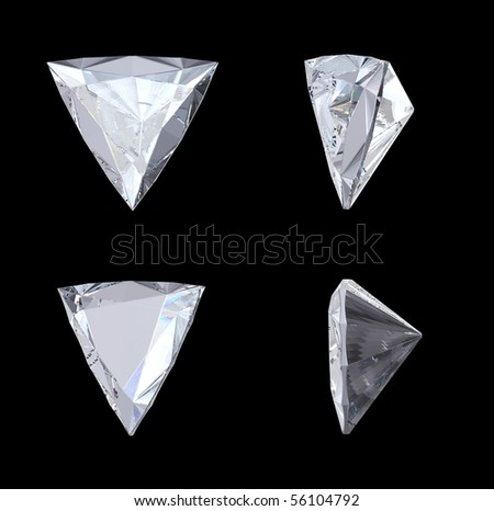 Top, bottom and side views of trillion diamond. Over black. Other gems are in my portfolio. Extralarge resolution - stock photo