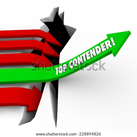 Top Contender words on arrow rising to be best player, challenger, competitor or candidate for a new job or winning a came or competition - stock photo