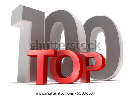 Top 100. 3D concept isolated on white.