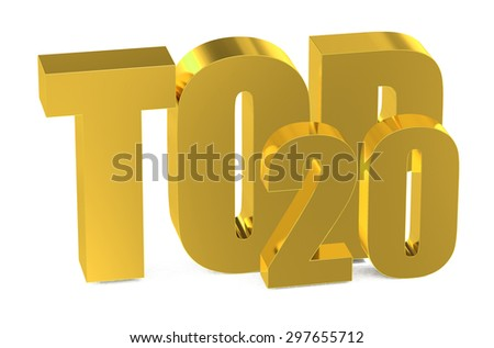Top 20, 3d illustration isolated on white background - stock photo