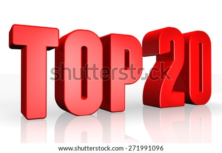 Top 20 - 3d illustration on white background - stock photo