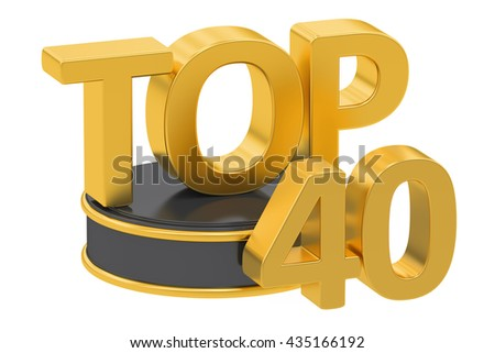 Top 40, 3D rendering isolated on white background - stock photo