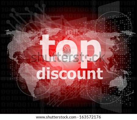 top discount word on digital touch screen, raster - stock photo