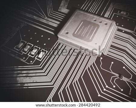 Top-down black and white 3D illustration of a microprocessor and electronic components on a circuit board, referring to concepts such as technology, research and development, and innovation - stock photo