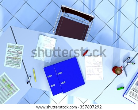 Top-down view of a conference room part including a chair, as well as some documents, 2 ring binders, a rollerball pen, a pencil, 2 highlighters, 3 permanent felt tip pens, and a cup of coffee - stock photo