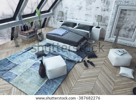 Top down view of messy modern bedroom with beautiful slanted windows and wooden floor littered with shoes, bags and pillows on floor. 3d Rendering. - stock photo