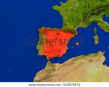 Top-down view of Spain hightlighted in red as seen from Earth's orbit in space. 3D illustration with highly detailed realistic planet surface. Elements of this image furnished by NASA.