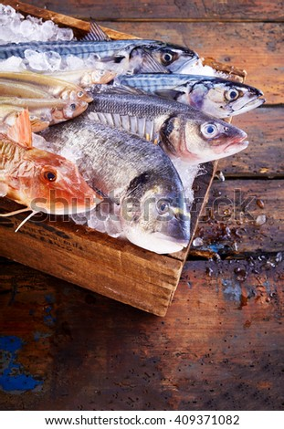 Top down view on multiple fresh raw mackerel and other fish on cutting board surrounded by crushed ice over old table - stock photo