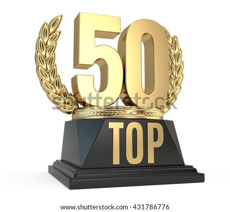 Top 50 fifty award cup symbol isolated on white background. 3d render - stock photo