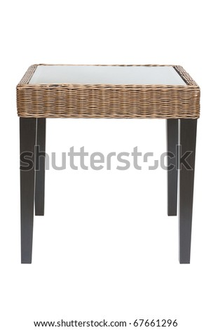 top glass wood table isolated white - stock photo