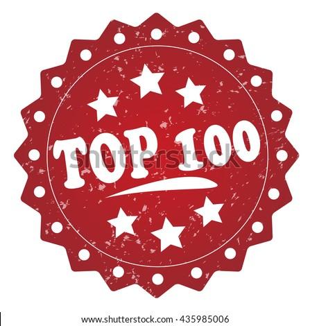 top 100 grunge stamp - stock photo