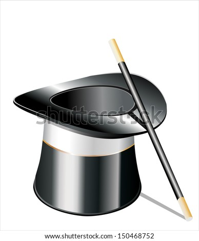 Top hat and a magic wand isolated against white background - stock photo
