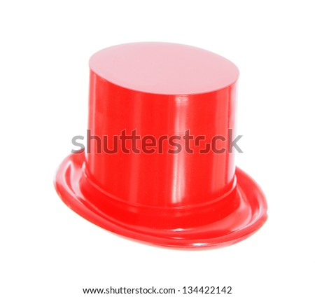 top hat red isolated on white background