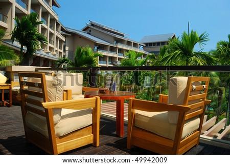 Top hotels apartment balcony Landscape - stock photo